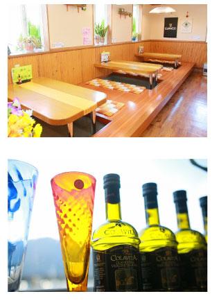 イタリアンらしいボトルとグラス、座敷スペースもあり