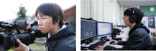 カメラを構え、編集作業する西村さん